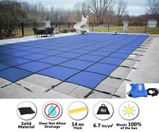 GLI HyperLite Rectangle Solid w/ Cover Pump Swimming Pool Safety Cover w/ Step