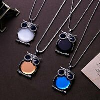 Fashion Crystal Owl Pendant Long Sweater Chain Necklace Women Jewelry Gifts NEW
