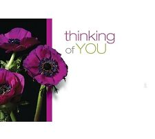 """50ct. """"Thinking of You"""" Purple Flowers Blank Florist Enclosure Cards Small Tags"""