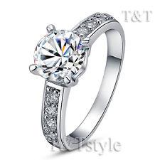 TTstyle 18K WGP Engagement Wedding Ring With 7mm Main Cubic Zirconia Stone