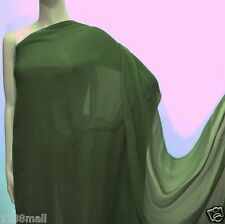 4 YD Moss Green  Pure Silk Georgette Chiffon Fabric 140cm#208 for Summer Dress