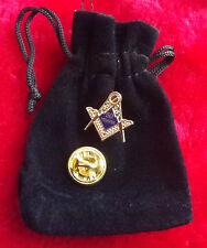 Masonic 50 Years a Mason Enamel Lapel Pin Badge with Gift Pouch