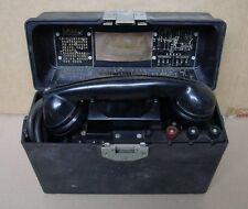 Vintage CX 2 Army Field Telephone 0743 w/ Crank all Original Condition Nice1