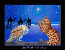 Bengal Cat Barn Owl Mouse Mice Xmas Eve Star Prayers Aceo Limited Ed Art Print