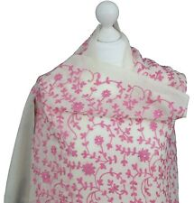 Pretty Ivory Pink Indian Hand Embroidered 100% Pashmina Shawl Wrap Scarf Kashmir