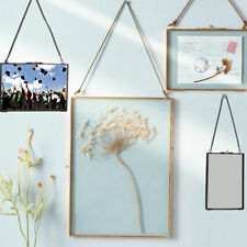Vintage Two Sided Hanging Transparent Glass Hanging Frame w/ Hook+Chain