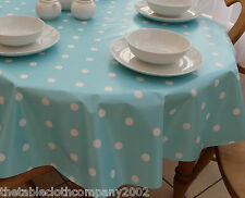 140 x 200cm Oval Wipe Clean PVC Tablecloth - Baby Blue Polka Dot
