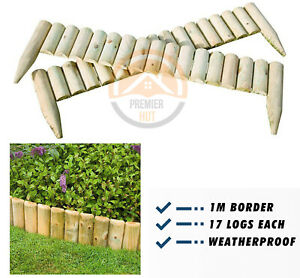 Quality Wooden Log Border Edge Landscaping Garden Patio Lawn Fixed Fence-  1 m