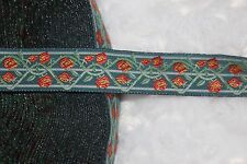 "$1 yard Dark Teal Pink Coral Mint woven jacquard sewing ribbon trim 3/4"" wide"