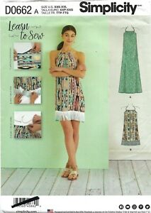 Simplicity D0662 LEARN TO SEW Halter Dress in 2 Lengths Sz 4-26 UNCUT 8382