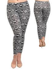 Plus Size 14/16 Chic Black/White Aztec Print Stretch Leggings Tights Pants NWT