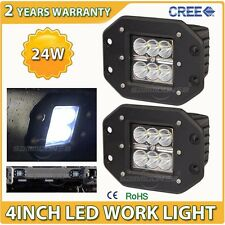 2X 24W CREE LED Cube Pods Work Light Flush Mount Offroad Truck Bumper Flood Lamp
