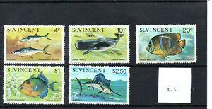St. Vincent (21) - 1975 - Fishes - part set - mint