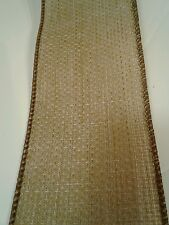 """RUSTIC Burlap look wired Ribbon w/ Brown Edges 2.5"""" wide - by the yard"""