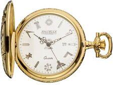 Masonic Pocket Watch Gold Plated Half Hunter with Masonic Symbols - Quartz