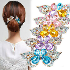 Cons Women Glint Hair Clip Butterfly Hairpin Crystal Plastic Headwear Claw Clamp