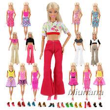 Miunana 10 Abiti alla moda + 10 PCS Scarpe selezionati a caso per bambola barbie