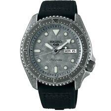 Seiko 5 Sports Silver Dial Black Leather Strap Men's Watch SRPE79K1 RRP £340