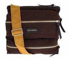 NWT $580 DOLCE & GABBANA Brown Denim Leather Crossbody Messenger Shoulder Bag