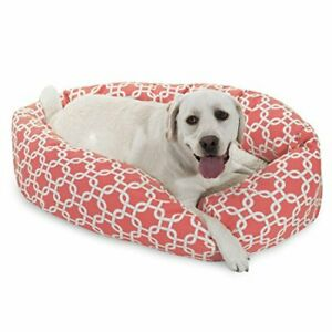40 Inch Coral Links Sherpa Bagel Dog Bed