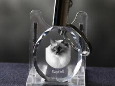 Ragdoll, Cat Crystal Round Keyring, High Quality, Crystal Animals CA
