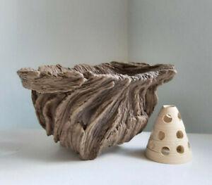 Stoneware Neofinetia falcata pot Driftwood Style, inside aeration cone included