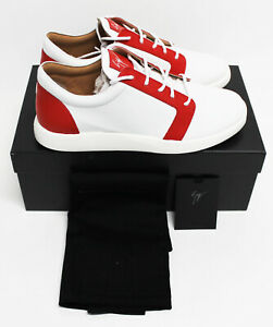 $795 NIB Italy GIUSEPPE ZANOTTI Men's White Red Leather Shoes Sneakers 10 43-IT