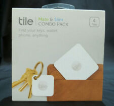 Tile Mate and Slim Combo 4 Pack White Tracker Key Phone Bluetooth