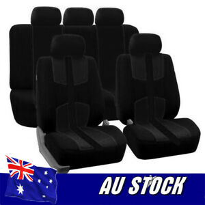 Universal All Black Bird Eye Cloth Car Full Styling Seat Cover For Car Truck Suv
