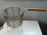 VINTAGE METAL OYSTER BASKET FISHING WOOD deep frying mesh outdoor kitchen fryer