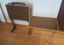 Vintage Wood & Metal TV Tray Tables Mid Century 4  Folding With Cart Set Vintage