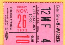 1972 CHI BLACKHAWKS VS. MONTREAL CANADIENS NHL HOCKEY TICKET STUB-11/26/72