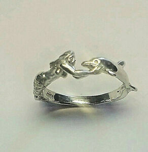 STERLING SILVER MERMAID AND  DOLPHIN RING SIZE 7