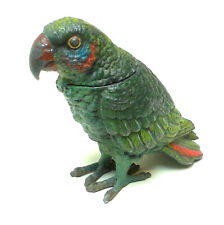An Antique C19th Polychrome White Metal Novelty Inkwell of a Grumpy Parrot c1890