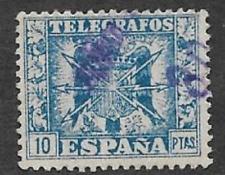 La SPAGNA emissione postale USATO telegrah TIMBRO BLU 10 PTS 1949