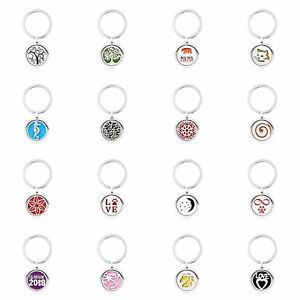25MM Locket Aromatherapy Essential Oil Diffuser Pendant Keychain Key ring 5pads
