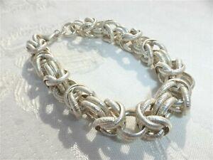 "WONDERFUL Dyadema Sterling Silver Ring Link Statement BRACELET Italy 7 3/4"""