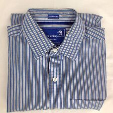 Duck Head Men's Shirt Button Front Athletic Fit Size Large Blue Striped