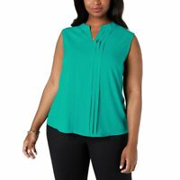 CALVIN KLEIN NEW Women's Lagoon Teal Plus Size Pleated Blouse Shirt Top 2X TEDO