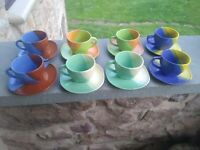 Vintage 1980s 8 cup & saucer sets Sky Canyon Green Blue Yellow ...multi color!