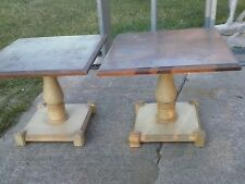 Vintage Drexel Heritage Square Pedestal End TABLE Occasional Table 2, 1 Pair