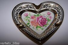 Rose Flower Vintage Style Ceramic Ashtray Heart Shaped