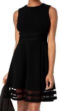 Calvin Klein Womens Dress Black Size 10P Petite A-Line Sheer Inserts $89- 059