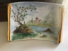 vintage midcentury  1964  hand painted porcelain signed . wall hanging plaque
