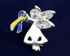 Down Syndrome Awareness Pin Yellow Blue Ribbon Angel