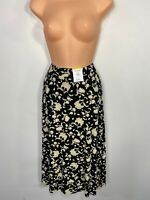 BNWT WOMEN MARKS & SPENCER UK16 LONG BLACK MIX PRINTED A-LINE STRETCH MIDI SKIRT
