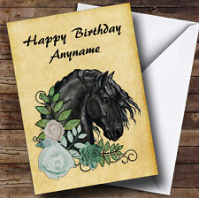 VINTAGE Friesian Horse Head & Flowers Personalizzato Compleanno carta