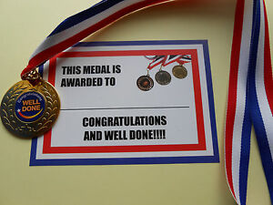 WELL DONE AND CONGRATULATIONS MEDALS 50MM METAL WITH SMART RIBBON/ CERTIFICATE
