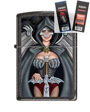 Zippo 211 Skull Woman Warrior Lighter with *FLINT & WICK GIFT SET*