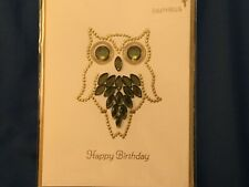 Papyrus Owl Jewel Birthday Card *New/Sealed In Plastic*